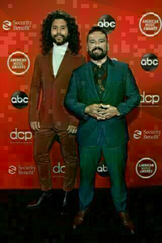 Dan Smyers and Shay Mooney of the country duo Dan + Shay attend the 2020 American Music Awards at the Microsoft Theater on Sunday in Los Angeles.